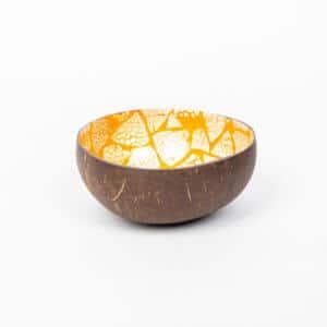 Kokosnussschale mit gelbem Dreieck-Muster