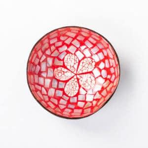 Kokosnussschale Rot mit Blume, Perlmutt & Eierschale