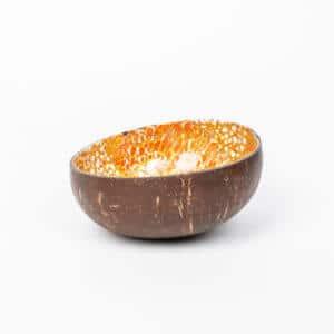 Kokosnussschale Orange mit Gold, Eierschale