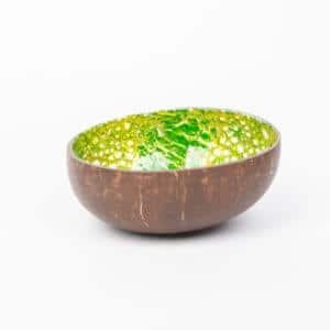 Kokosnussschale Grün mit Gold, Eierschale