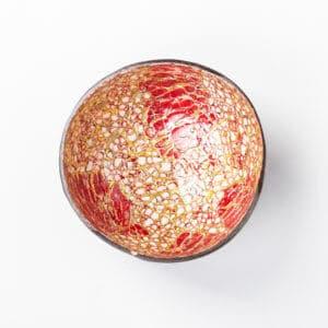 Kokosnussschale Rot mit Gold, Eierschale
